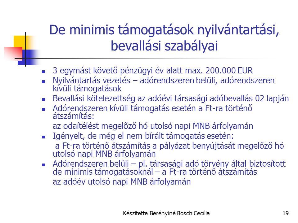 Készítette Berényiné Bosch Cecília19 De minimis támogatások nyilvántartási, bevallási szabályai 3 egymást követő pénzügyi év alatt max. 200.000 EUR Ny