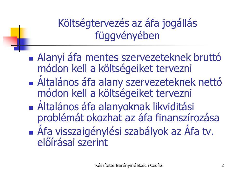 Készítette Berényiné Bosch Cecília2 Költségtervezés az áfa jogállás függvényében Alanyi áfa mentes szervezeteknek bruttó módon kell a költségeiket ter