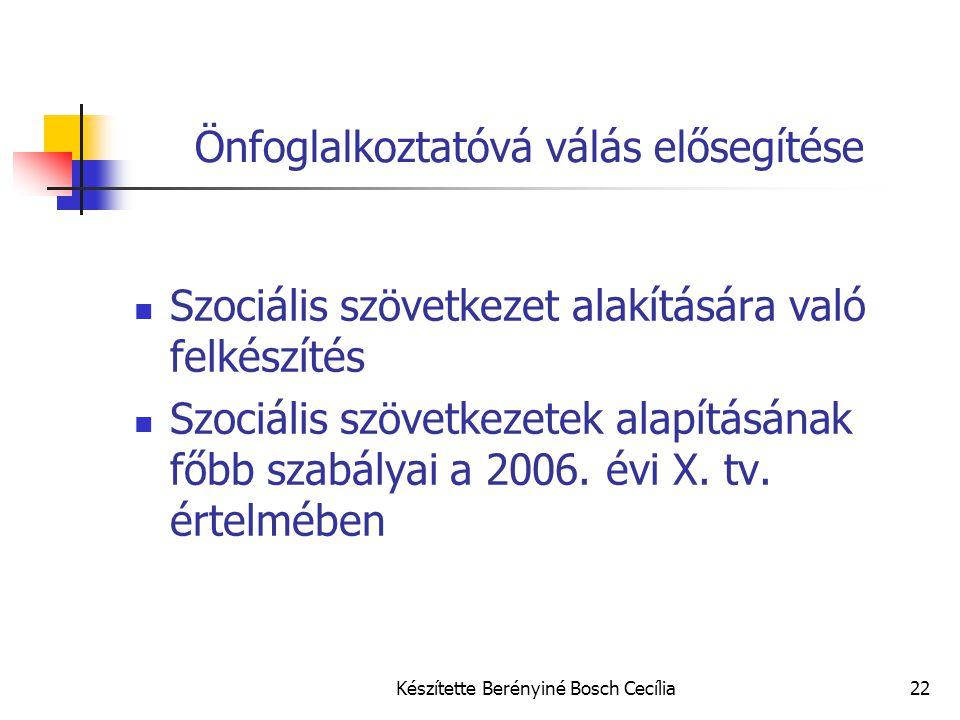 Készítette Berényiné Bosch Cecília22 Önfoglalkoztatóvá válás elősegítése Szociális szövetkezet alakítására való felkészítés Szociális szövetkezetek al