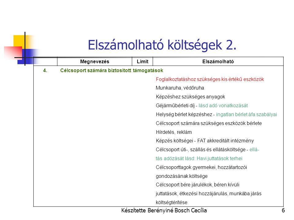 Készítette Berényiné Bosch Cecília6 Elszámolható költségek 2. MegnevezésLimitElszámolható 4.Célcsoport számára biztosított támogatások Foglalkoztatásh