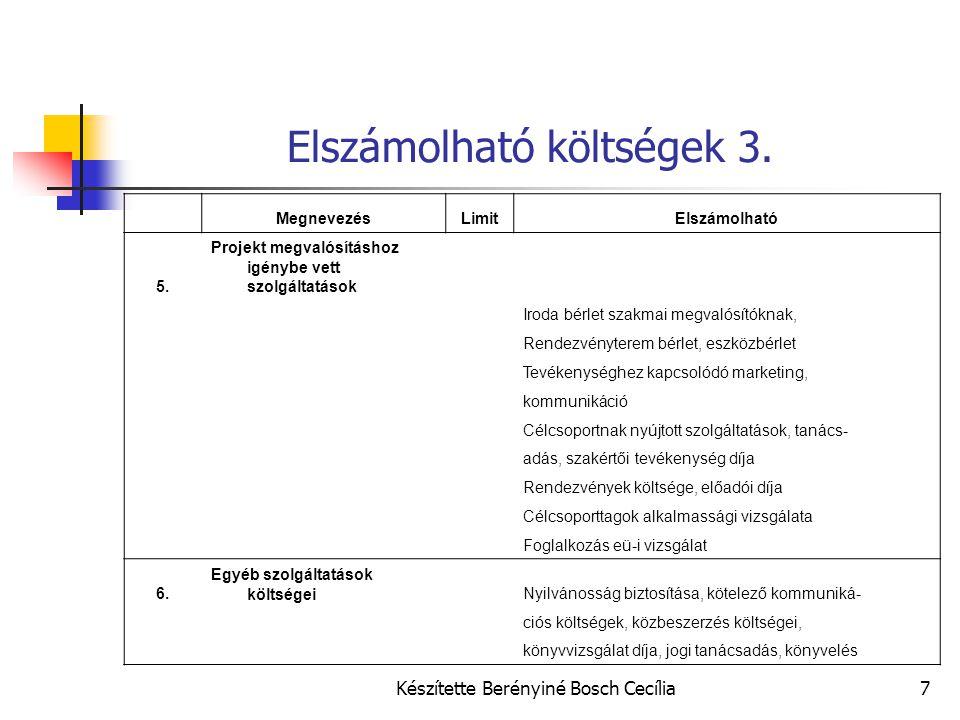 Készítette Berényiné Bosch Cecília7 Elszámolható költségek 3. MegnevezésLimitElszámolható 5. Projekt megvalósításhoz igénybe vett szolgáltatások Iroda