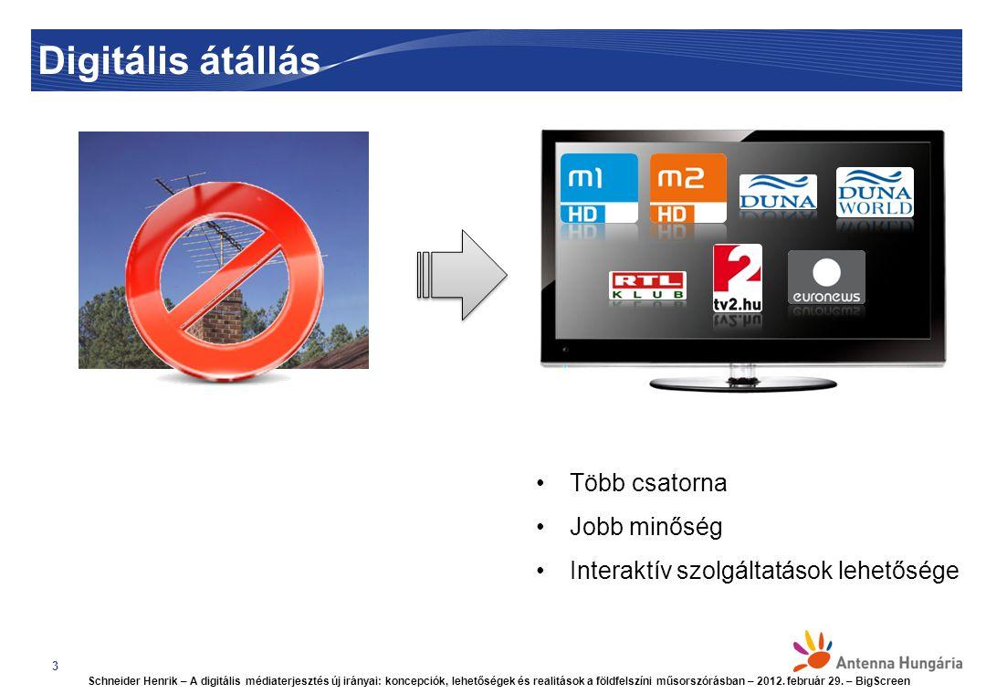 Digitális átállás 3 Több csatorna Jobb minőség Interaktív szolgáltatások lehetősége Schneider Henrik – A digitális médiaterjesztés új irányai: koncepciók, lehetőségek és realitások a földfelszíni műsorszórásban – 2012.