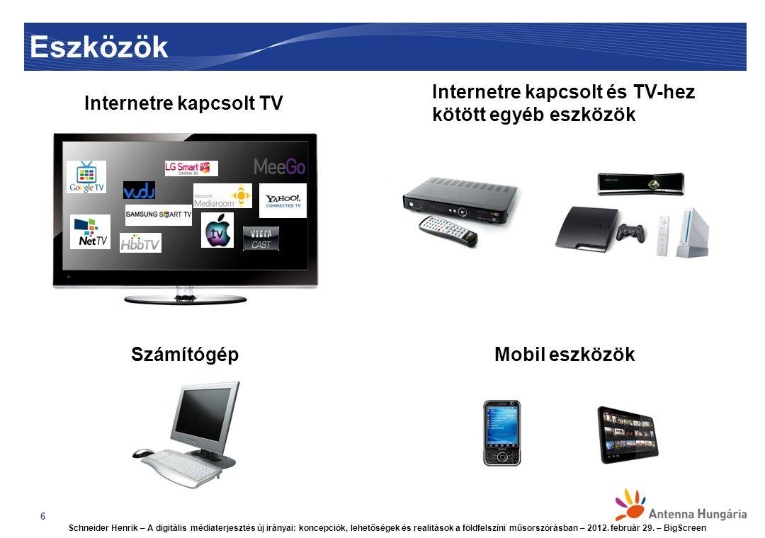 Eszközök 6 Internetre kapcsolt TV Internetre kapcsolt és TV-hez kötött egyéb eszközök SzámítógépMobil eszközök Schneider Henrik – A digitális médiaterjesztés új irányai: koncepciók, lehetőségek és realitások a földfelszíni műsorszórásban – 2012.