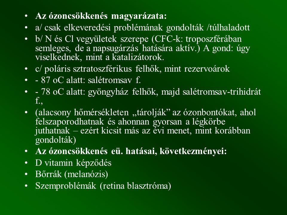 Az ózoncsökkenés magyarázata: a/ csak elkeveredési problémának gondolták /túlhaladott b/ N és Cl vegyületek szerepe (CFC-k: troposzférában semleges, d