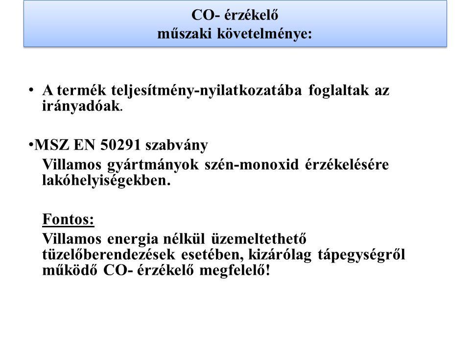 CO- érzékelő műszaki követelménye: A termék teljesítmény-nyilatkozatába foglaltak az irányadóak. MSZ EN 50291 szabvány Villamos gyártmányok szén-monox