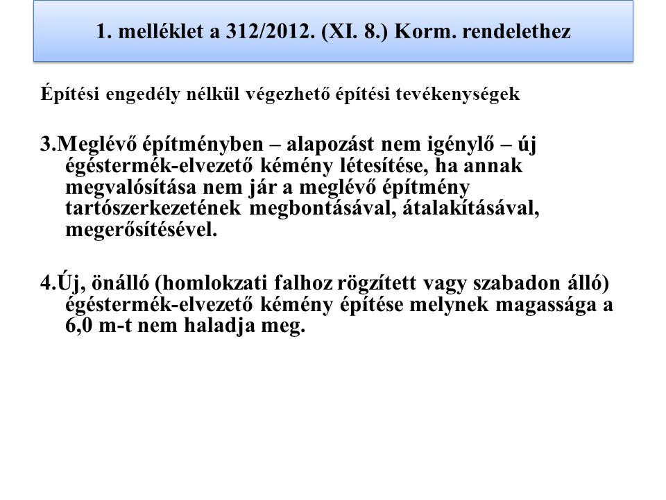 1. melléklet a 312/2012. (XI. 8.) Korm. rendelethez Építési engedély nélkül végezhető építési tevékenységek 3.Meglévő építményben – alapozást nem igén