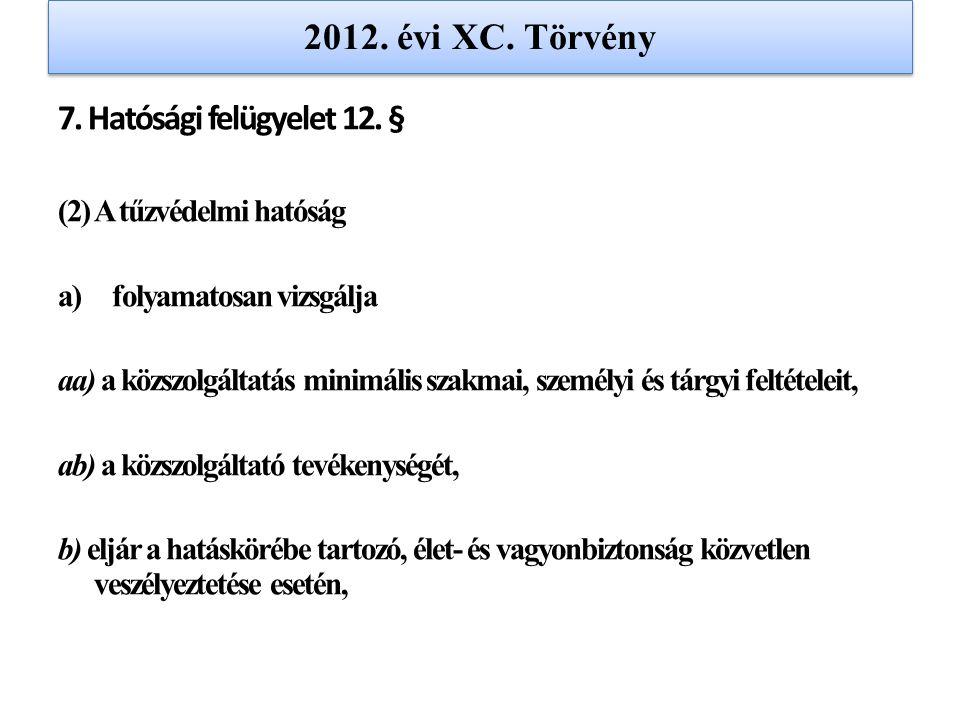 2012. évi XC. Törvény 7. Hatósági felügyelet 12. § (2) A tűzvédelmi hatóság a)folyamatosan vizsgálja aa) a közszolgáltatás minimális szakmai, személyi