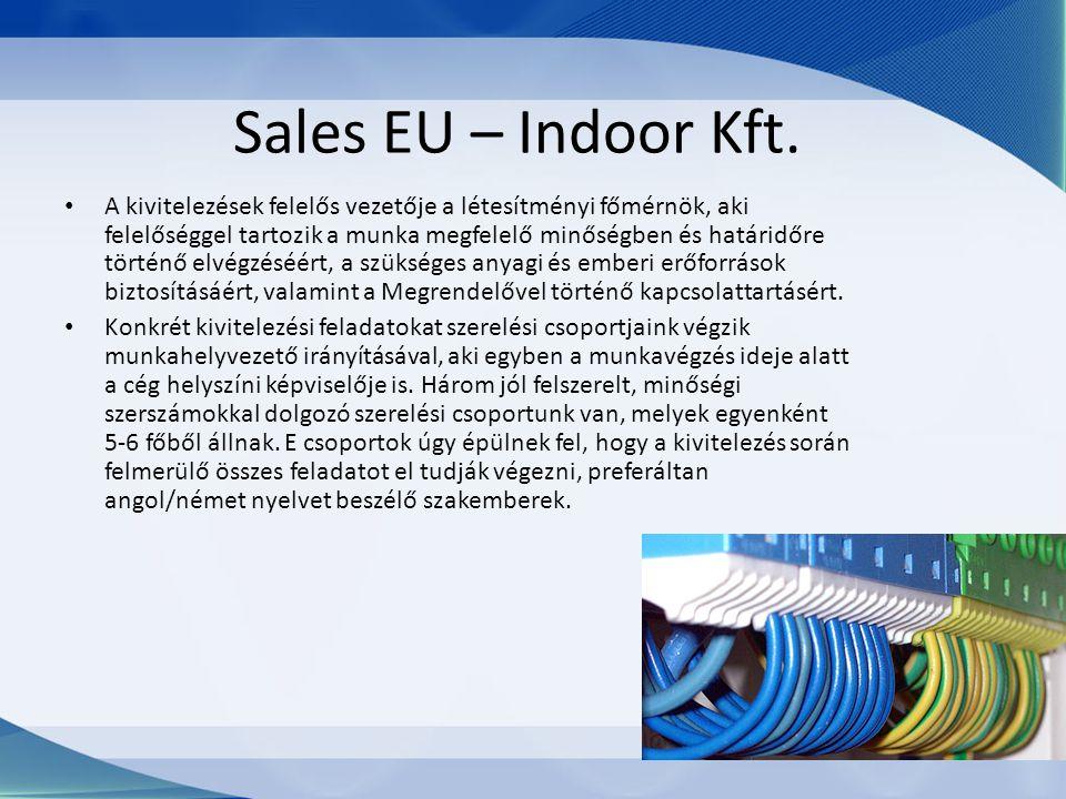 Sales EU – Indoor Kft. A kivitelezések felelős vezetője a létesítményi főmérnök, aki felelőséggel tartozik a munka megfelelő minőségben és határidőre