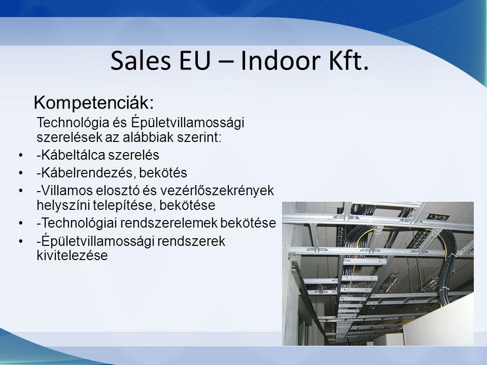 Sales EU – Indoor Kft. Kompetenciák: Technológia és Épületvillamossági szerelések az alábbiak szerint: -Kábeltálca szerelés -Kábelrendezés, bekötés -V
