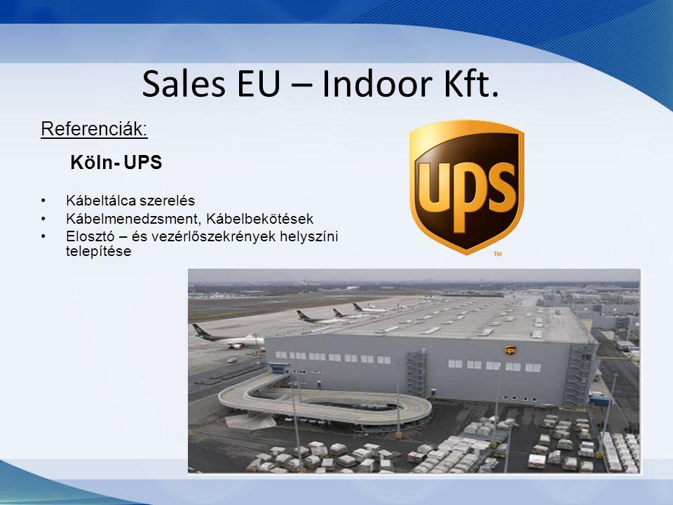 Sales EU – Indoor Kft. Referenciák: Köln- UPS Kábeltálca szerelés Kábelmenedzsment, Kábelbekötések Elosztó – és vezérlőszekrények helyszíni telepítése