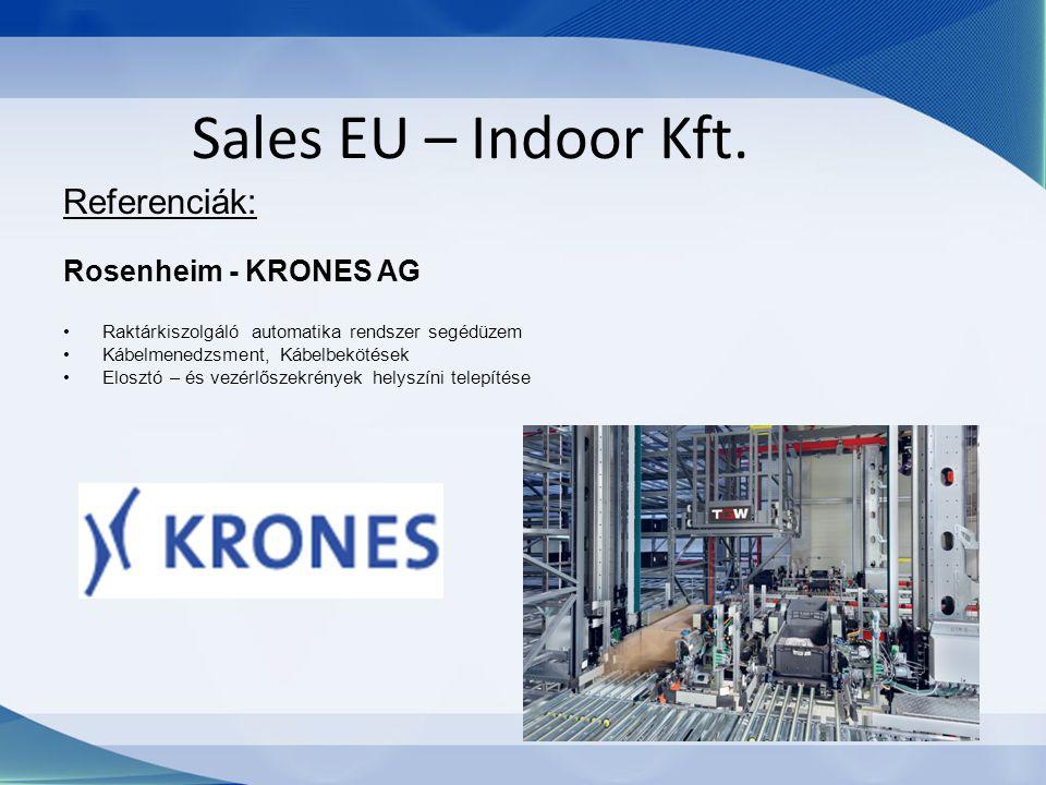 Sales EU – Indoor Kft. Referenciák: Rosenheim - KRONES AG Raktárkiszolgáló automatika rendszer segédüzem Kábelmenedzsment, Kábelbekötések Elosztó – és
