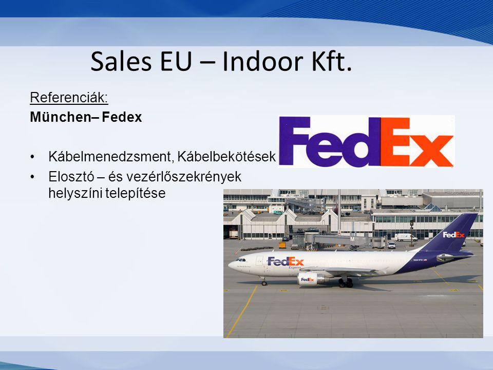 Sales EU – Indoor Kft. Referenciák: München– Fedex Kábelmenedzsment, Kábelbekötések Elosztó – és vezérlőszekrények helyszíni telepítése