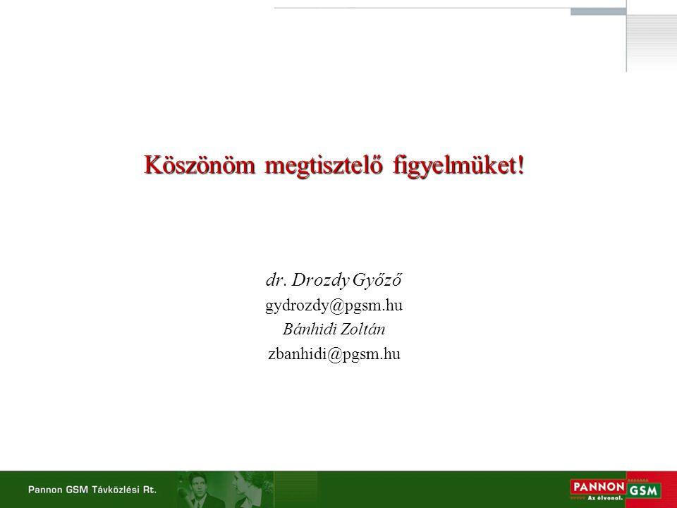 Köszönöm megtisztelő figyelmüket! dr. Drozdy Győző gydrozdy@pgsm.hu Bánhidi Zoltán zbanhidi@pgsm.hu