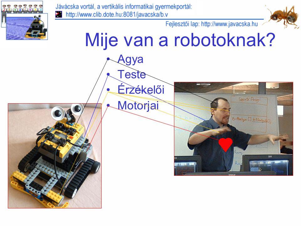 Mije van a robotoknak? Agya Teste Érzékelői Motorjai