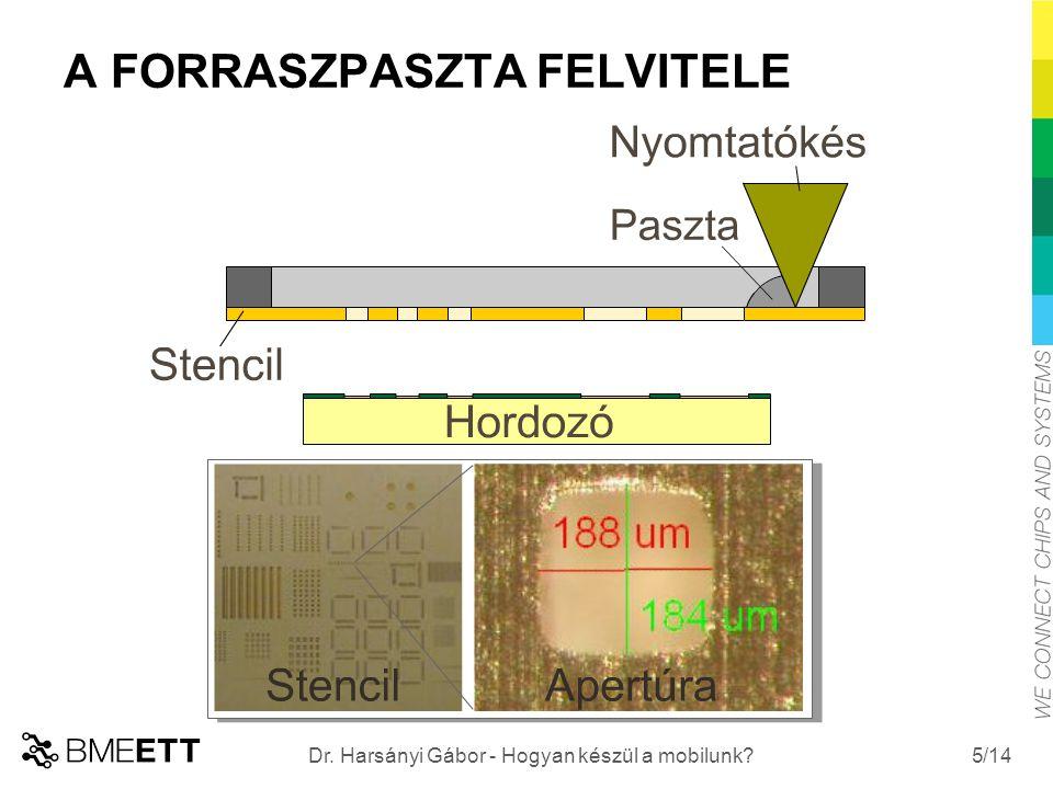 /14 ALKATRÉSZEK BEÜLTETÉSE Beültetési sebesség: akár 100.000 alkatrész/óra Legnagyobb alkatrész (IC): akár 40x40 mm élhosszúságú Legkisebb alkatrész (ellenállás): 400x200 µm 6 Dr.