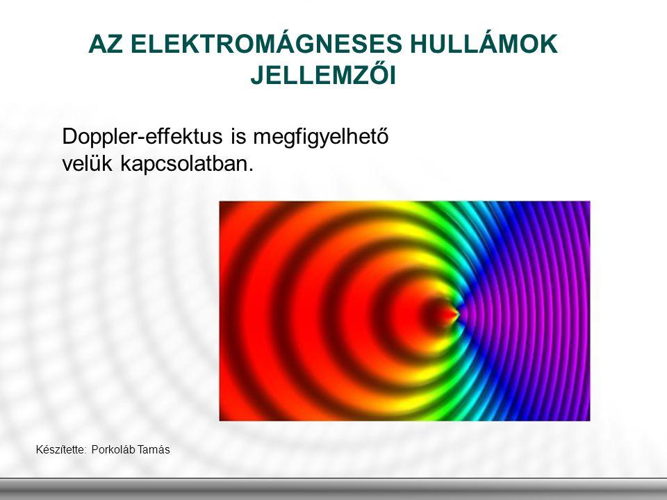 AZ ELEKTROMÁGNESES HULLÁMOK JELLEMZŐI Doppler-effektus is megfigyelhető velük kapcsolatban. Készítette: Porkoláb Tamás