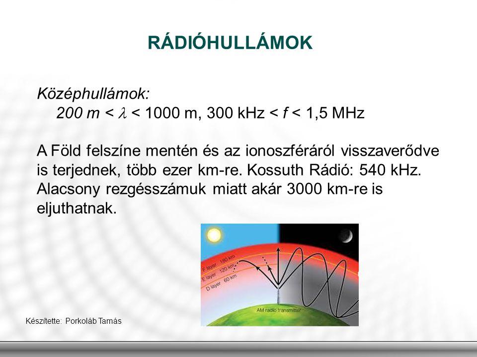 Középhullámok: 200 m < < 1000 m, 300 kHz < f < 1,5 MHz A Föld felszíne mentén és az ionoszféráról visszaverődve is terjednek, több ezer km-re. Kossuth