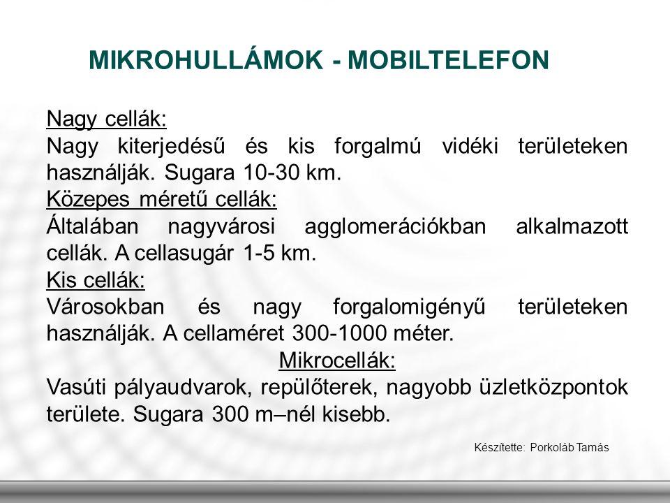 MIKROHULLÁMOK - MOBILTELEFON Készítette: Porkoláb Tamás Nagy cellák: Nagy kiterjedésű és kis forgalmú vidéki területeken használják. Sugara 10-30 km.