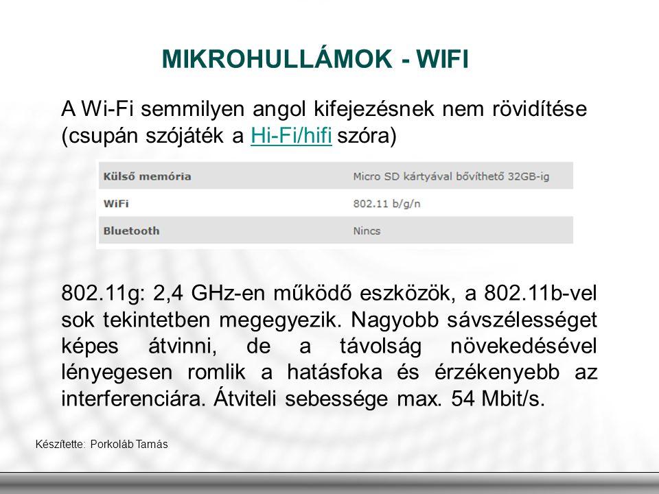 MIKROHULLÁMOK - WIFI A Wi-Fi semmilyen angol kifejezésnek nem rövidítése (csupán szójáték a Hi-Fi/hifi szóra)Hi-Fi/hifi 802.11g: 2,4 GHz-en működő esz