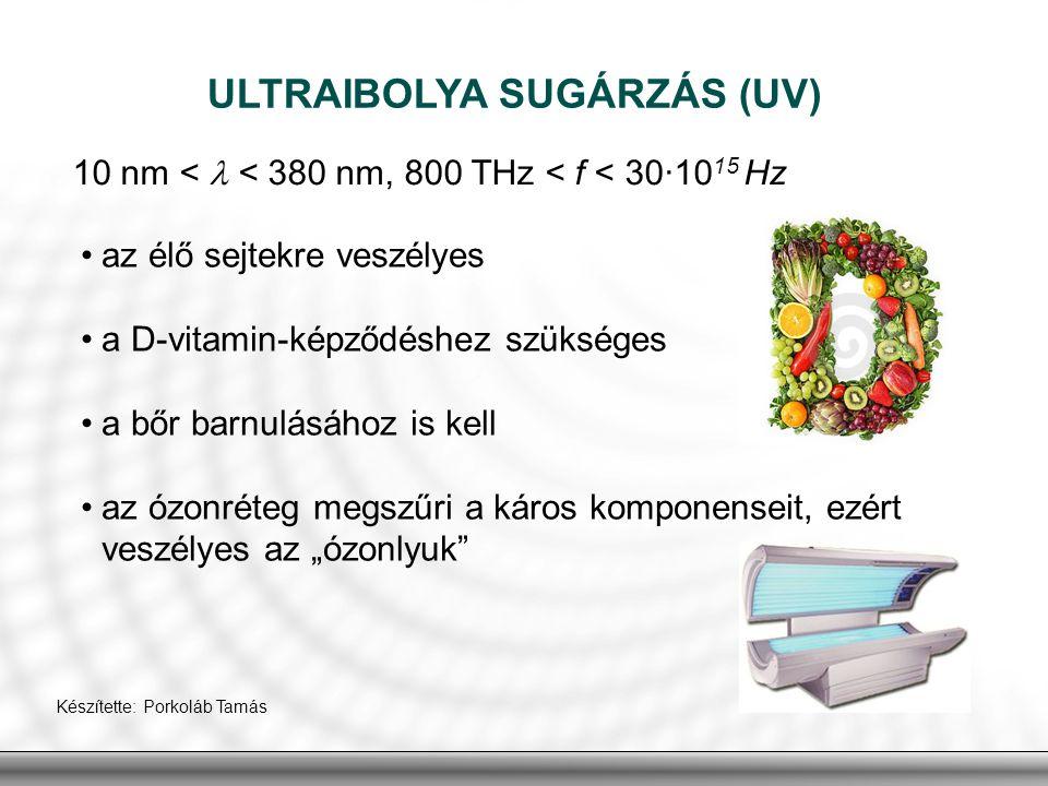 ULTRAIBOLYA SUGÁRZÁS (UV) 10 nm < < 380 nm, 800 THz < f < 30·10 15 Hz az élő sejtekre veszélyes a D-vitamin-képződéshez szükséges a bőr barnulásához i