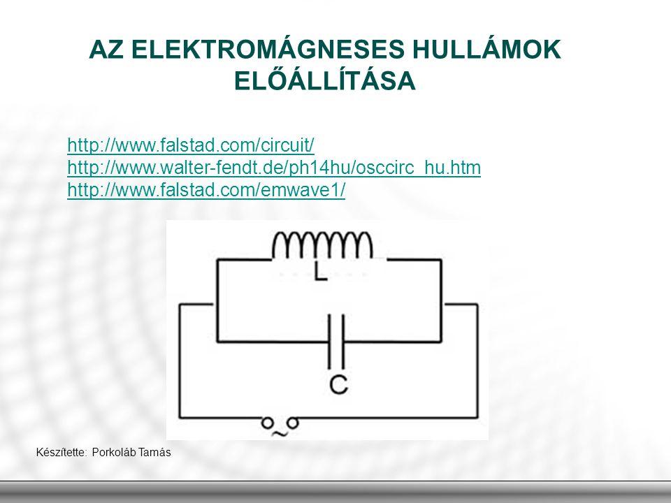 AZ ELEKTROMÁGNESES HULLÁMOK ELŐÁLLÍTÁSA http://www.falstad.com/circuit/ http://www.walter-fendt.de/ph14hu/osccirc_hu.htm http://www.falstad.com/emwave