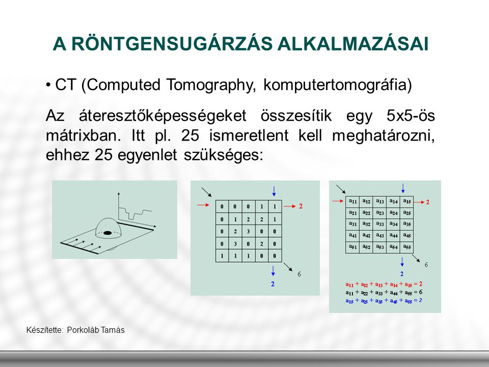 A RÖNTGENSUGÁRZÁS ALKALMAZÁSAI CT (Computed Tomography, komputertomográfia) Készítette: Porkoláb Tamás Az áteresztőképességeket összesítik egy 5x5-ös