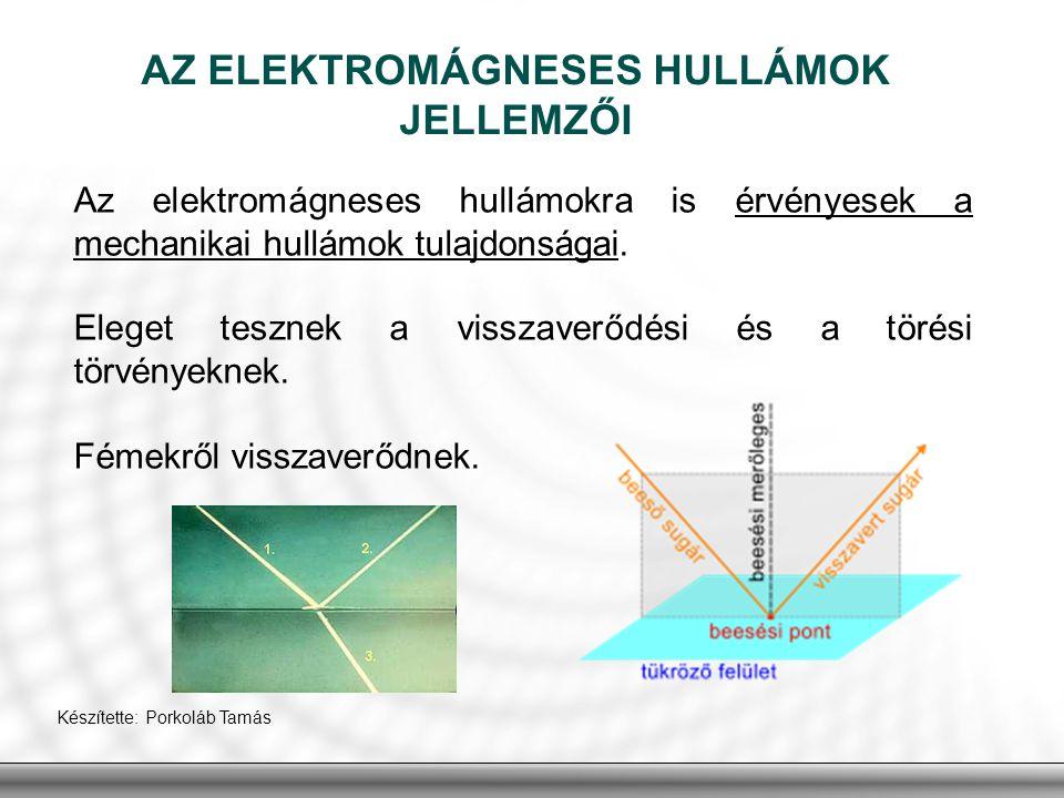 Az elektromágneses hullámokra is érvényesek a mechanikai hullámok tulajdonságai. Eleget tesznek a visszaverődési és a törési törvényeknek. Fémekről vi