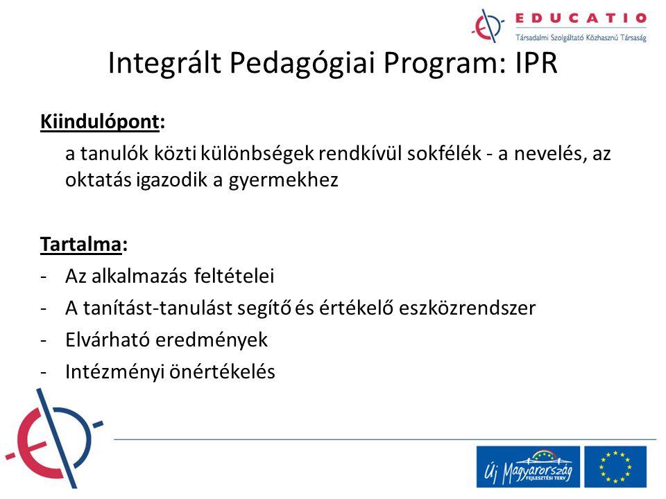 Integrált Pedagógiai Program: IPR Kiindulópont: a tanulók közti különbségek rendkívül sokfélék - a nevelés, az oktatás igazodik a gyermekhez Tartalma: