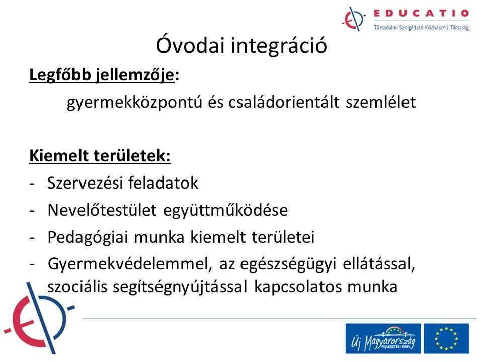 Óvodai integráció Legfőbb jellemzője: gyermekközpontú és családorientált szemlélet Kiemelt területek: -Szervezési feladatok -Nevelőtestület együttműkö