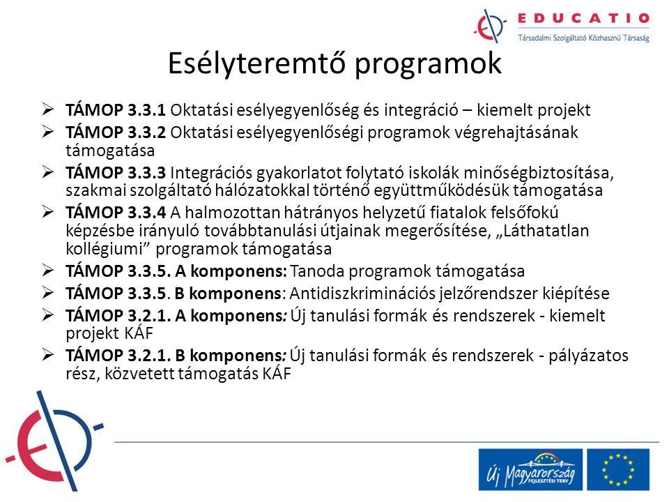Esélyteremtő programok  TÁMOP 3.3.1 Oktatási esélyegyenlőség és integráció – kiemelt projekt  TÁMOP 3.3.2 Oktatási esélyegyenlőségi programok végreh