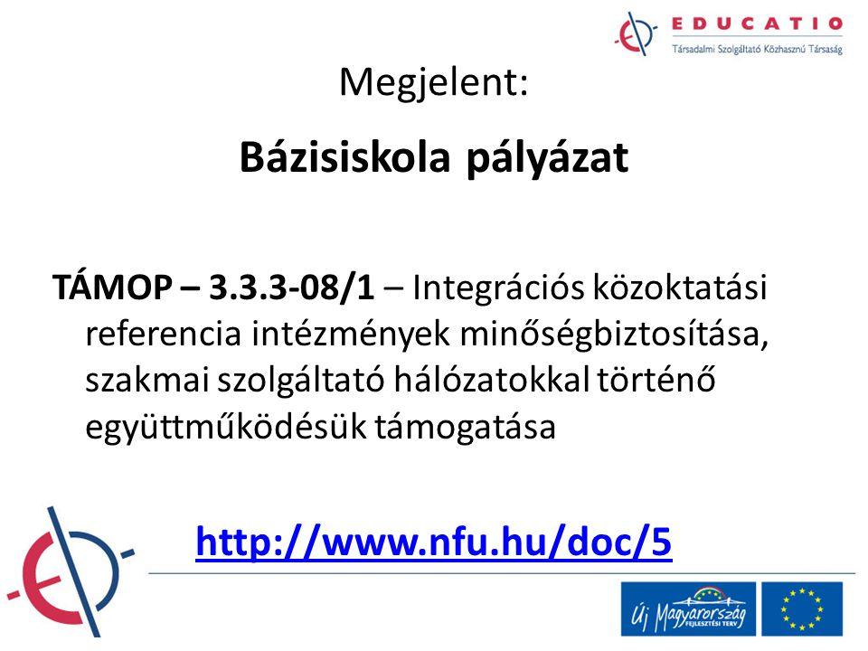 Megjelent: Bázisiskola pályázat TÁMOP – 3.3.3-08/1 – Integrációs közoktatási referencia intézmények minőségbiztosítása, szakmai szolgáltató hálózatokk