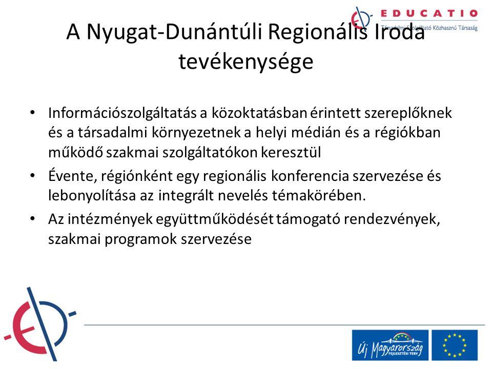 A Nyugat-Dunántúli Regionális Iroda tevékenysége Információszolgáltatás a közoktatásban érintett szereplőknek és a társadalmi környezetnek a helyi méd