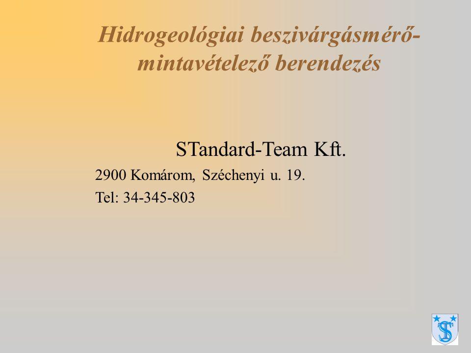 Raffay György Talaj és vízvédelmi szakértő Sebestyén Tibor szakreferens Hidrogeológiai beszivárgásmérő- mintavételező berendezés