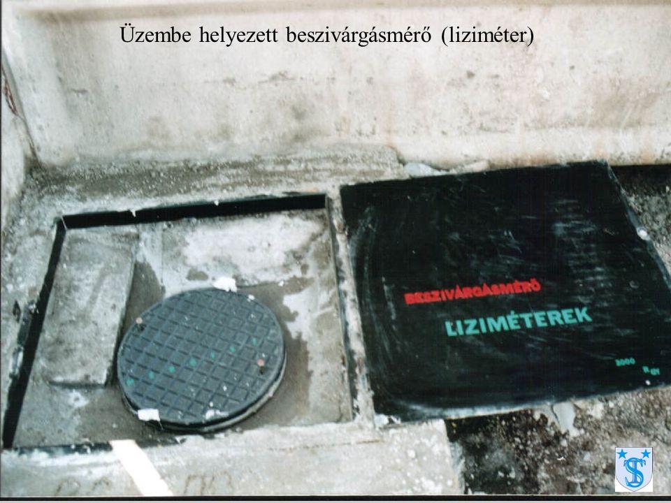 Üzembe helyezett beszivárgásmérő (liziméter)