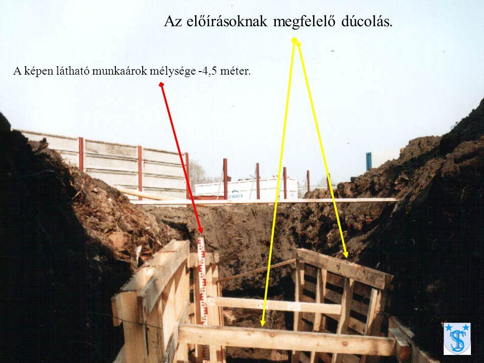 Az előírásoknak megfelelő dúcolás. A képen látható munkaárok mélysége -4,5 méter.