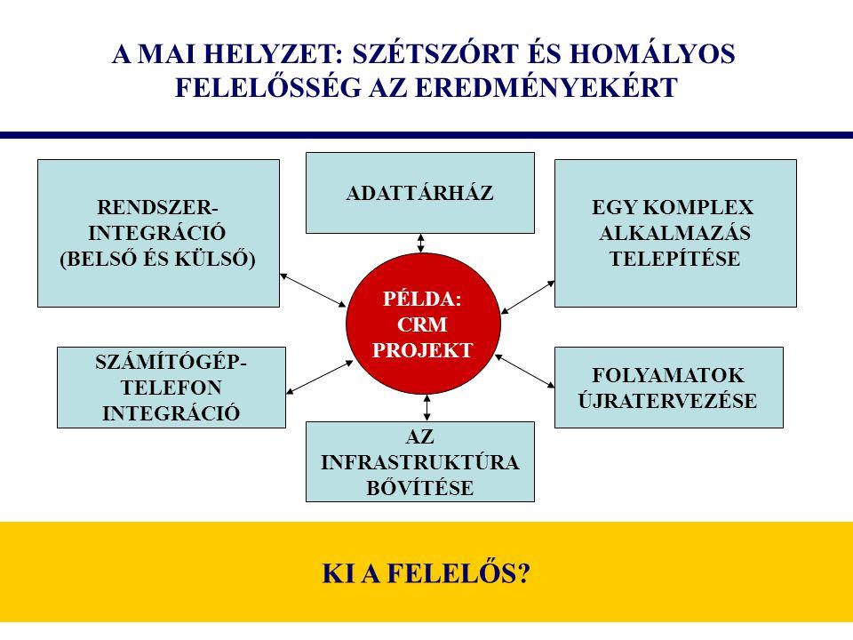 A MAI HELYZET: SZÉTSZÓRT ÉS HOMÁLYOS FELELŐSSÉG AZ EREDMÉNYEKÉRT PÉLDA: CRM PROJEKT EGY KOMPLEX ALKALMAZÁS TELEPÍTÉSE RENDSZER- INTEGRÁCIÓ (BELSŐ ÉS KÜLSŐ) ADATTÁRHÁZ SZÁMÍTÓGÉP- TELEFON INTEGRÁCIÓ FOLYAMATOK ÚJRATERVEZÉSE AZ INFRASTRUKTÚRA BŐVÍTÉSE KI A FELELŐS?