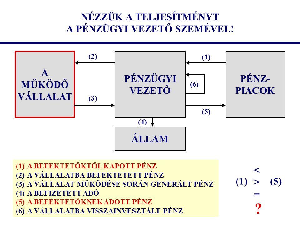NÉZZÜK A TELJESÍTMÉNYT A PÉNZÜGYI VEZETŐ SZEMÉVEL! PÉNZÜGYI VEZETŐ A MŰKÖDŐ VÁLLALAT PÉNZ- PIACOK ÁLLAM (1) (2) (3) (4) (5) (6) (1)A BEFEKTETŐKTŐL KAP