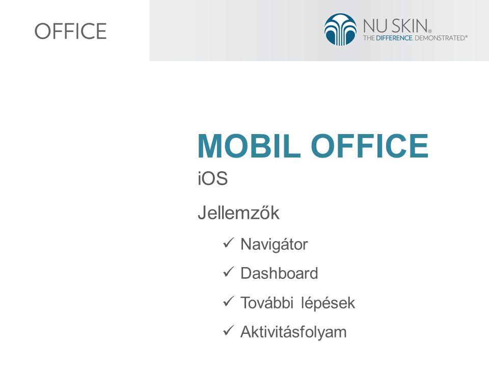 MOBIL OFFICE iOS Jellemzők Navigátor Dashboard További lépések Aktivitásfolyam