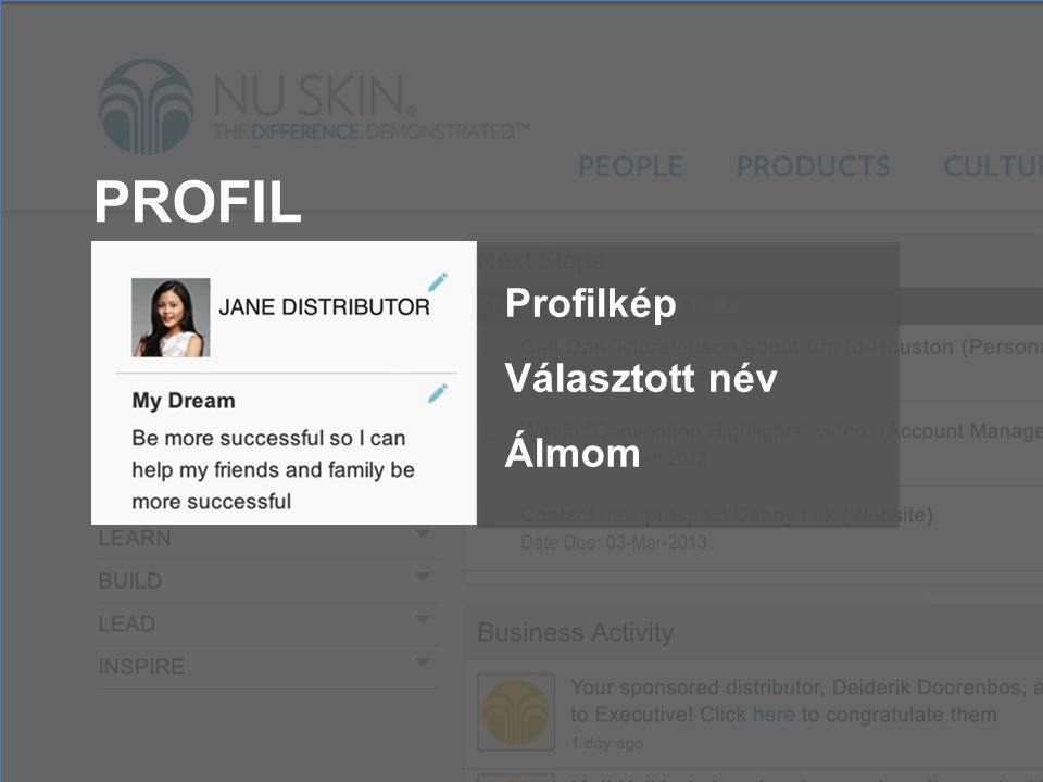 PROFIL Profilkép Választott név Álmom