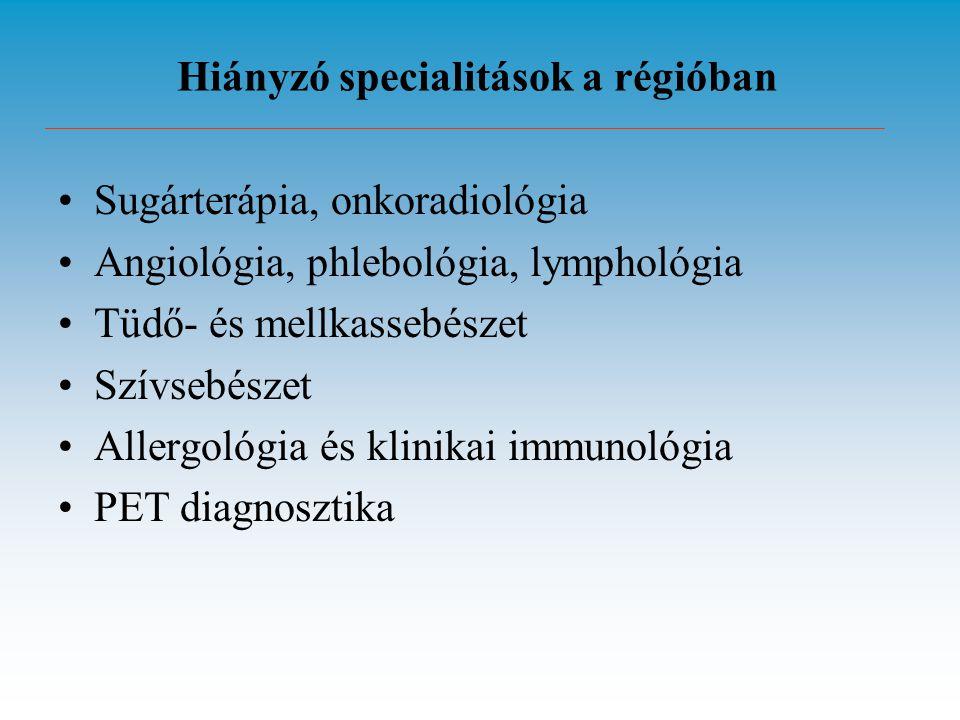 Hiányzó specialitások a régióban Sugárterápia, onkoradiológia Angiológia, phlebológia, lymphológia Tüdő- és mellkassebészet Szívsebészet Allergológia és klinikai immunológia PET diagnosztika