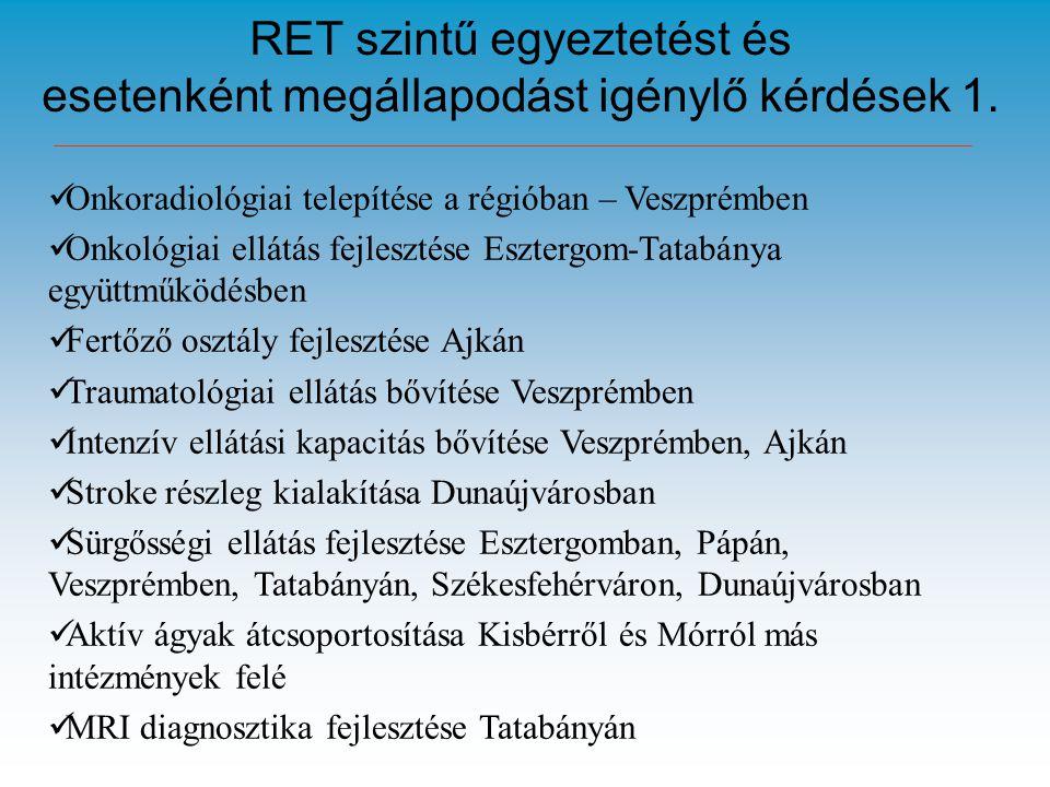 RET szintű egyeztetést és esetenként megállapodást igénylő kérdések 1.