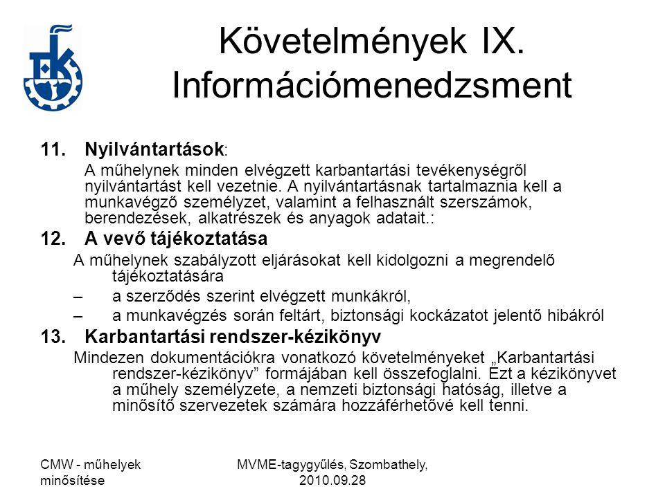 CMW - műhelyek minősítése MVME-tagygyűlés, Szombathely, 2010.09.28 Követelmények IX. Információmenedzsment 11.Nyilvántartások : A műhelynek minden elv