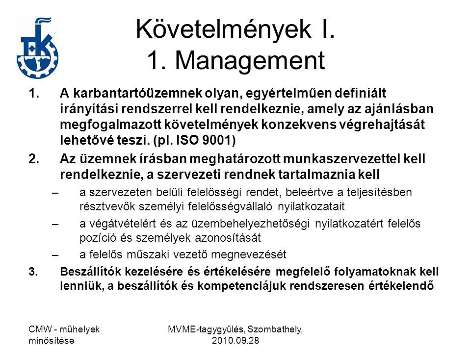 CMW - műhelyek minősítése MVME-tagygyűlés, Szombathely, 2010.09.28 Követelmények I. 1. Management 1.A karbantartóüzemnek olyan, egyértelműen definiált