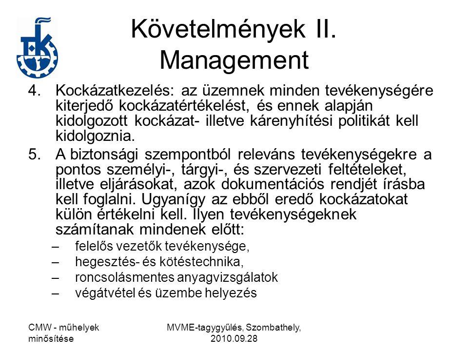 CMW - műhelyek minősítése MVME-tagygyűlés, Szombathely, 2010.09.28 Követelmények II. Management 4.Kockázatkezelés: az üzemnek minden tevékenységére ki