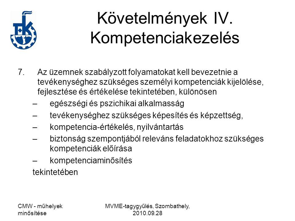 CMW - műhelyek minősítése MVME-tagygyűlés, Szombathely, 2010.09.28 Követelmények IV. Kompetenciakezelés 7.Az üzemnek szabályzott folyamatokat kell bev