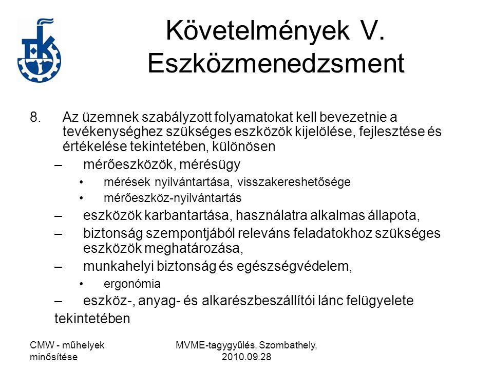 CMW - műhelyek minősítése MVME-tagygyűlés, Szombathely, 2010.09.28 Követelmények V. Eszközmenedzsment 8.Az üzemnek szabályzott folyamatokat kell bevez