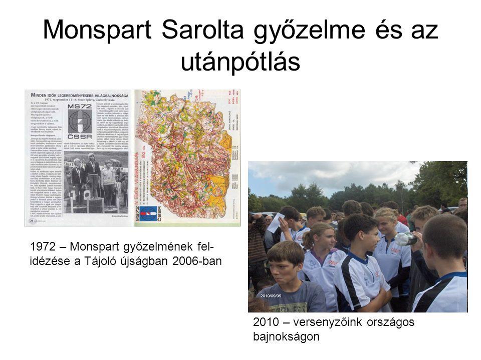 Monspart Sarolta győzelme és az utánpótlás 1972 – Monspart győzelmének fel- idézése a Tájoló újságban 2006-ban 2010 – versenyzőink országos bajnokságon