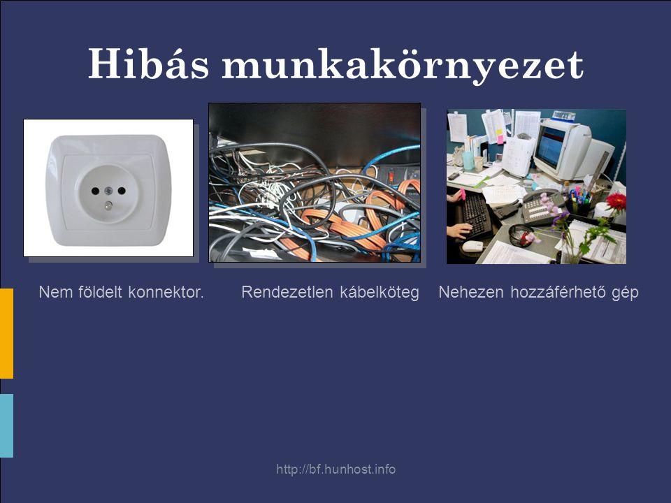 http://bf.hunhost.info Hibás munkakörnyezet Nem földelt konnektor.Rendezetlen kábelkötegNehezen hozzáférhető gép