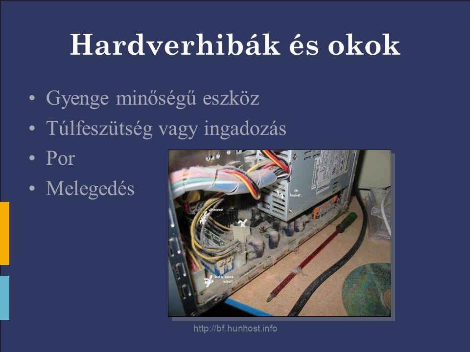 http://bf.hunhost.info Hardverhibák és okok Gyenge minőségű eszköz Túlfeszütség vagy ingadozás Por Melegedés