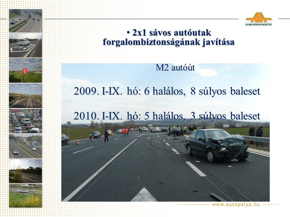 2009.I-IX. hó: 6 halálos, 8 súlyos baleset 2010. I-IX.
